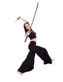 Beautiful woman in an aggressive posture with a sword  katana poster