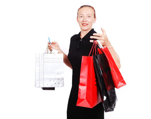 Elderly white woman with bags for shopping