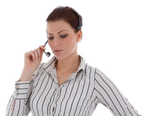 Young caucasian girl working in the call center isolated