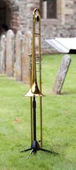 Trombone in a churchyard