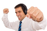 Businessman releasing stress listening to music poster