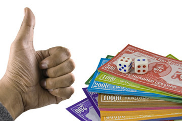 Thumb Up Money Dice Gambling