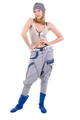Hip Hop Girl. Isolated On White Background.