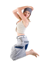 modern style dancer girl. Isolated On White Background.