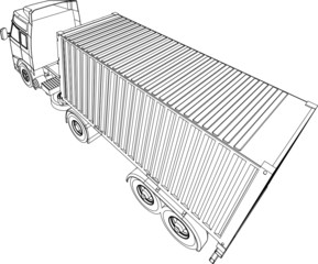 Container trcuk and trailer