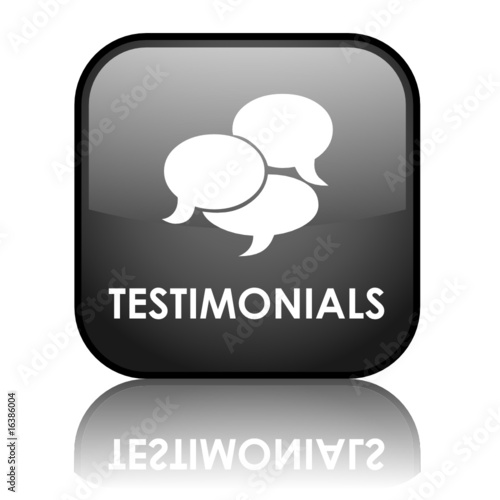 "Square vector ""TESTIMONIALS"" button with reflection (black)"