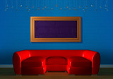 Red couch with empry frames in minimalist interior poster