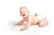 Leinwandbild Motiv Baby mit Bademantel