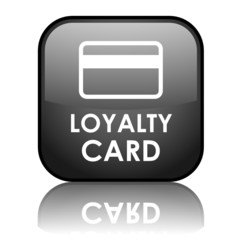 "Square vector ""LOYALTY CARD"" button with reflection (black)"