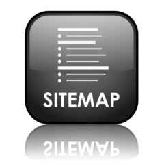 """Square vector """"SITEMAP"""" button with reflection (black)"""