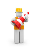 Repairman with traffic cone poster