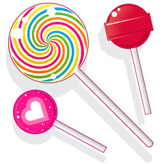 Lollipops and candy suckers in vector illustration