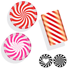 Peppermint swirl candies - candy stripes in vector illustration