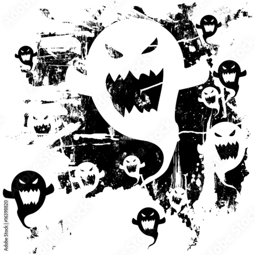 Scary ghost background. Distressed, grunge look