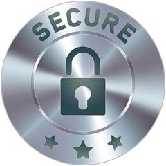 Stainless steel vector secure icon or button