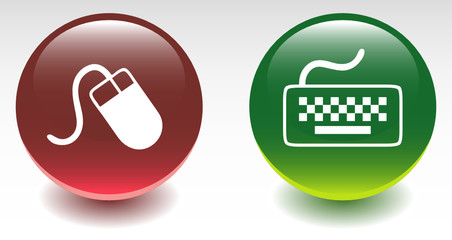 Glossy Mouse & Keyboard Sign Icons
