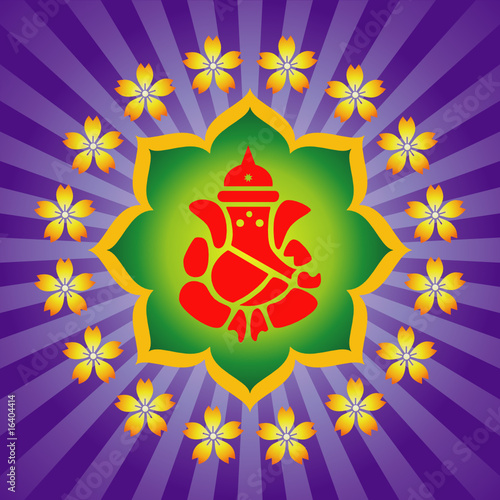 Lord Ganesha On Lotus Background