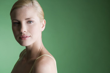 A portrait of a young blonde woman