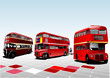 London double Decker  red buses. Vector illustration