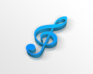 blue treble clef (3d)