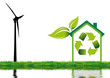 éolienne et maison à énergie renouvelable