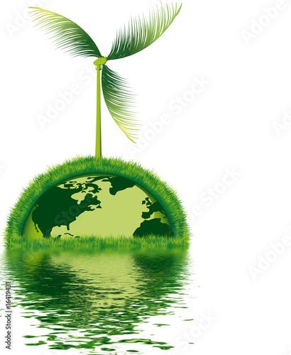terre écologique avec éolienne naturelle