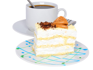 Sponge cakes with cup of coffee.Isolated