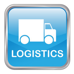 "Square vector ""LOGISTICS"" button (blue)"