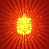 Lord Ganesha On Sparkling Burst Background poster