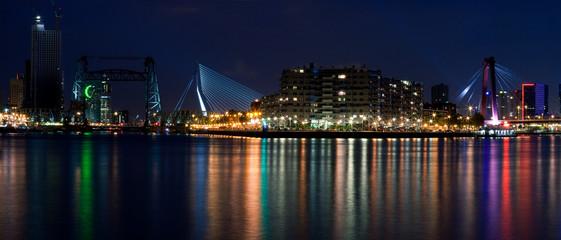 Three bridges of Rotterdam. Night
