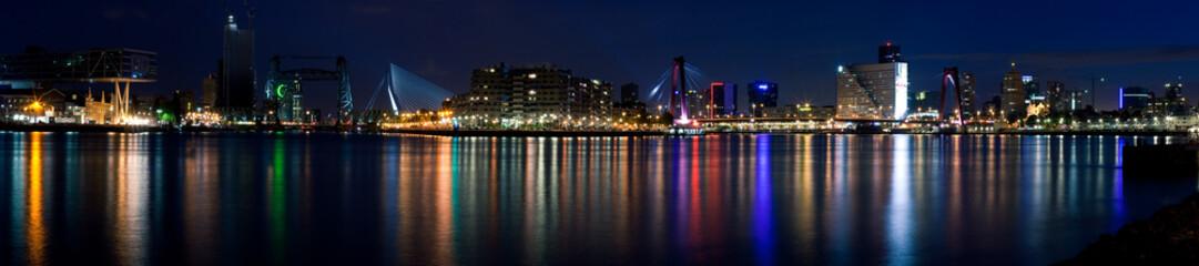 Night panorama of Rotterdam and Mass River