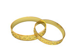 Golden wedding rings with magic tracery