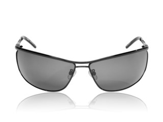 Black sunglasses isolated on white background with reflection.