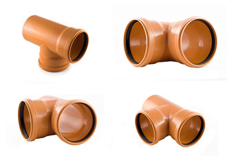 Collage of Plastic T-branch sewer pipe photos isolated