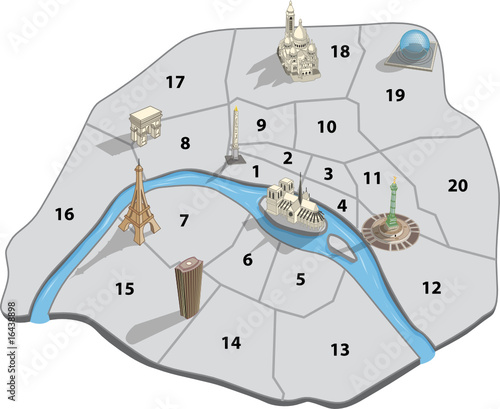 Plan touristique paris 2 fichier vectoriel libre de for Carte touristique de paris