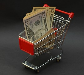 American dollars in shopping cart