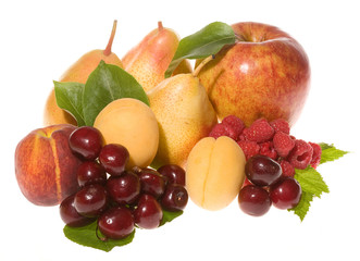 Mix of fresh fruits with leafs