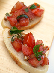 Two bruschetta pieces