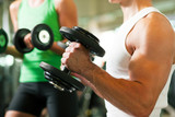 Dumbbell training in gym-