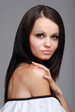beautiful european brunette woman poster