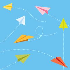 Paper planes set - colorful