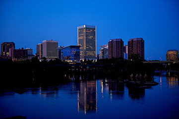 Night shot of Richmond, Virginia on the James River
