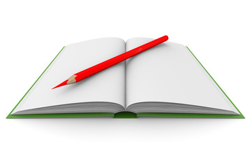 Opening book and pencil on white background. 3D image