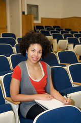 African American student in lecture hall