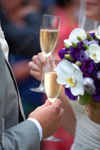 Wedding champagne toast.