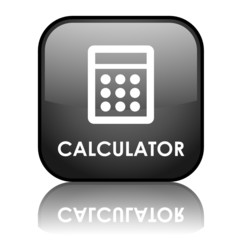 "Square vector ""CALCULATOR"" button with reflection (black)"