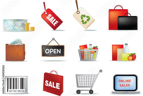 illustration of retail coloured detailed icon set