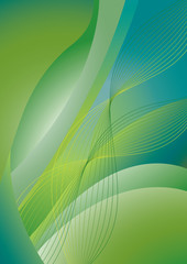 Abstract green and blue wavy background with flowing lines