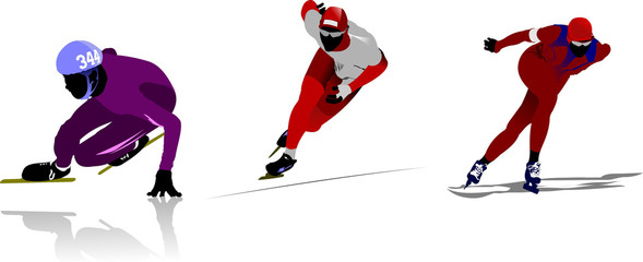 Skating sport silhouettes. Vector illustration