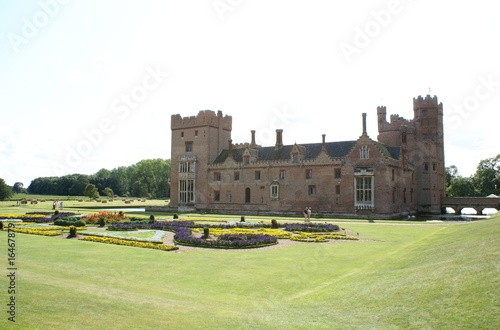 decorative old construction. formal garden view